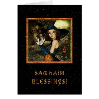 Tarjeta Samhain bendecido - estrellas de la bruja