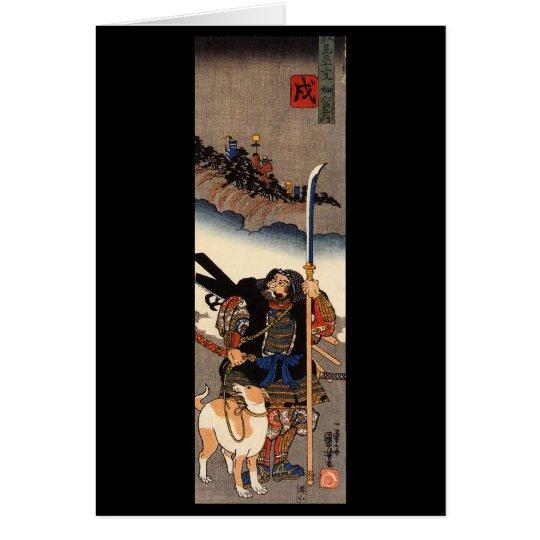 Tarjeta Samurai con su perro, circa 1800's