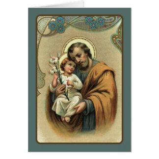 Tarjeta San José con el bebé Jesús