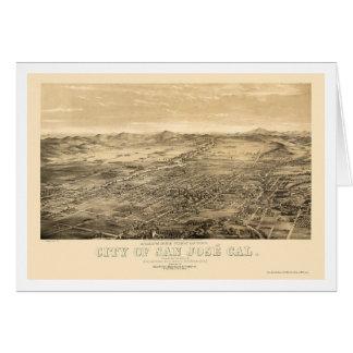 Tarjeta San Jose, mapa panorámico de CA - 1869