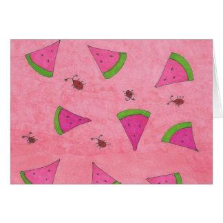 Tarjeta Sandía y señora rosadas Bugs