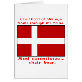 Tarjeta Sangre danesa y cerveza Viking