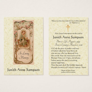 Tarjeta santa conmemorativa fúnebre católica