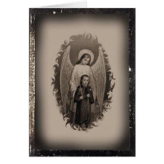 Tarjeta santa en blanco del vintage del ángel de