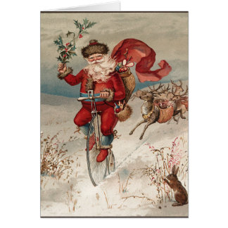 Tarjeta Santa en la bicicleta Notecards