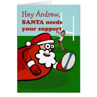 Tarjeta Santa juega al rugbi para el navidad alegría y