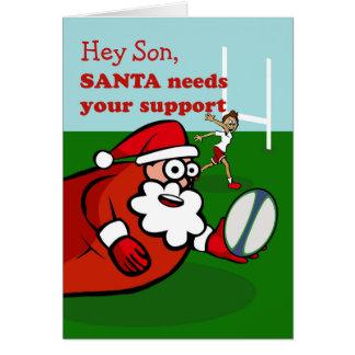 Tarjeta Santa juega al rugbi para el navidad, hijo, texto