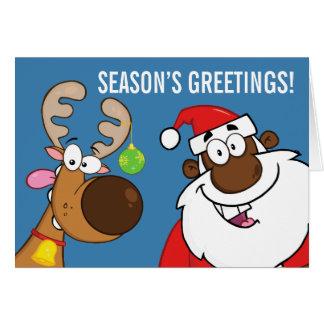 Tarjeta Santa negro con el reno