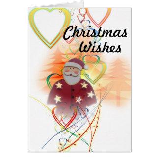 Tarjeta Santa y corazones, deseos del navidad