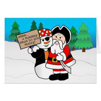 Tarjeta Santa y muñeco de nieve