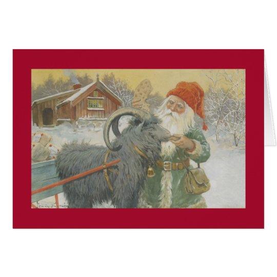 Tarjeta Santa y su trineo