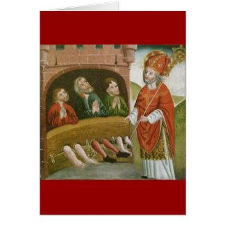 Tarjeta Santo Nicholas del navidad del vintage