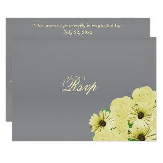 Tarjeta Satén gris del boda de RSVP y amarillo en colores