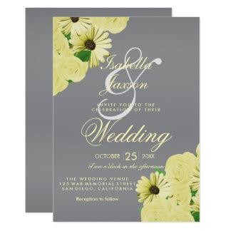 Tarjeta Satén gris del boda y boda amarillo en colores