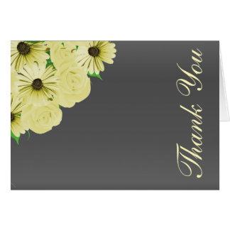 Tarjeta Satén gris del boda y floral amarillo