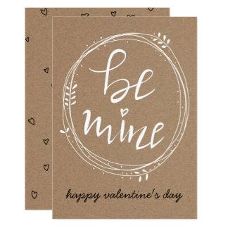 Tarjeta Sea los míos día de San Valentín manuscrito de la
