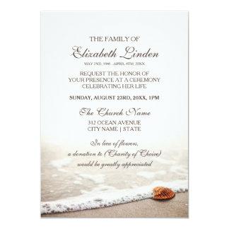 Tarjeta Seashell en la ceremonia conmemorativa de la playa
