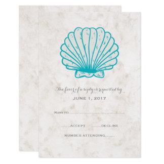 Tarjeta Seashell rústico de la turquesa que casa la
