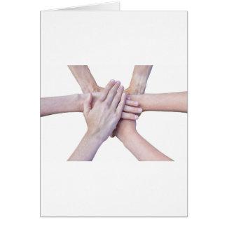Tarjeta Seis brazos unen con las manos en uno a