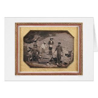Tarjeta Seis mineros con el eje de balancín, carretillas
