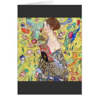 Tarjeta Señora con la fan de Gustavo Klimt