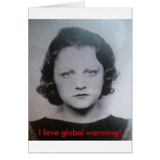 Tarjeta Señora del calentamiento del planeta del vintage