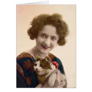 Tarjeta Señora del gato - foto del francés del vintage