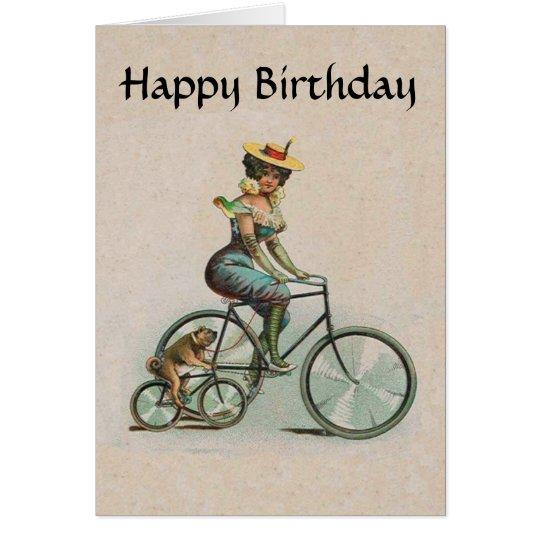 Tarjeta Señora Dog Bicycle Birthday del Victorian del