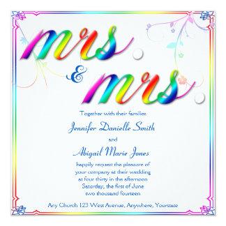 Tarjeta Señora floral Wedding Invitation del arco iris