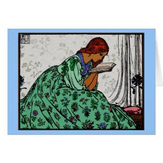Tarjeta Señora In del Redhead una lectura verde del