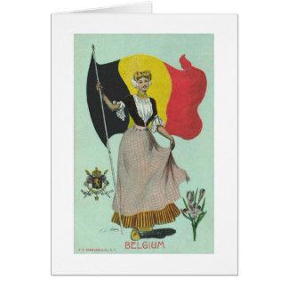 Tarjeta Señora y bandera belgas - 1900s tempranos