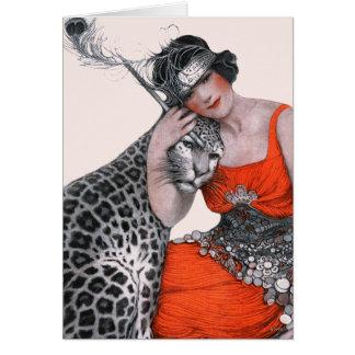 Tarjeta Señora y leopardo