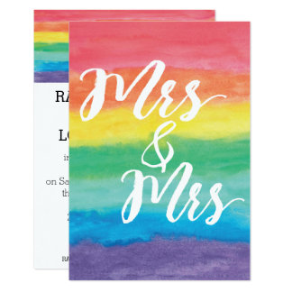 Tarjeta Señora y señora Rainbow Lesbian Wedding Invitation