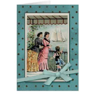 Tarjeta Señoras y chica del Victorian por el mar