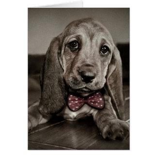 Tarjeta Sensación del perrito de Basset Hound de la sepia
