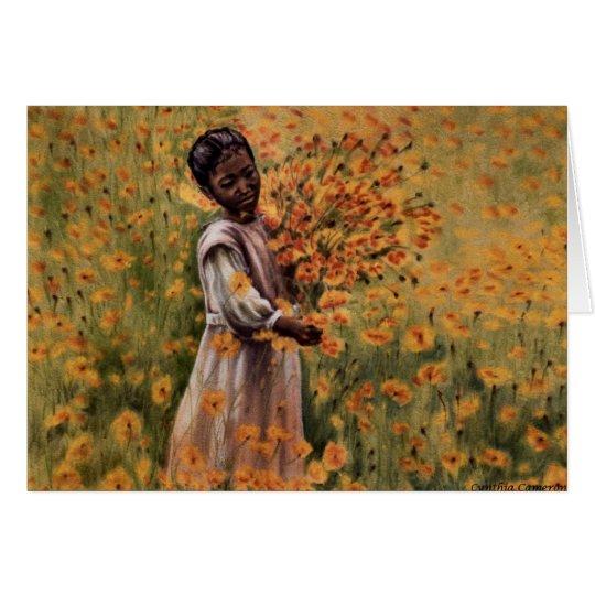 Tarjeta Serenidad - chica joven en el campo de flores