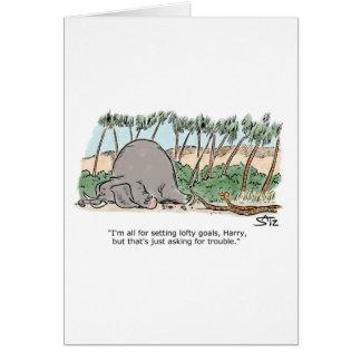 Tarjeta Serpientes que intentan comer un elefante