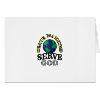 Tarjeta servicio del globo a dios y al hombre