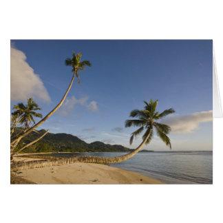 Tarjeta Seychelles, isla de Mahe, palma horizontal,