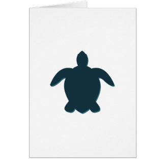 Tarjeta Silueta de la tortuga de mar con la sombra
