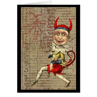 Tarjeta Símbolos ocultos del zodiaco del payaso del diablo