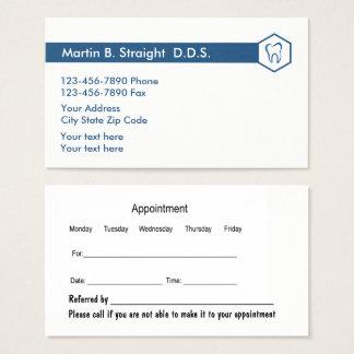 Tarjeta simple y cita de la oficina del dentista
