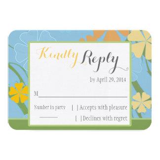 Tarjeta simplemente tropical de RSVP que se casa Invitación 8,9 X 12,7 Cm
