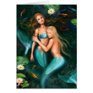 Tarjeta Sirenas hermosas de la fantasía en el lago con los