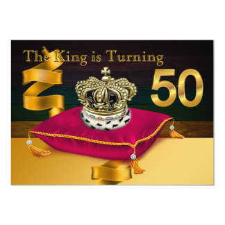 Tarjeta Sirve a la 50.a fiesta de cumpleaños de rey Theme