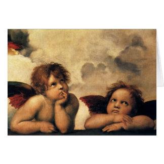 Tarjeta Sistine Madonna (detalle) de Raphael