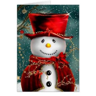 Tarjeta Snowmans lindos - ilustracion del muñeco de nieve