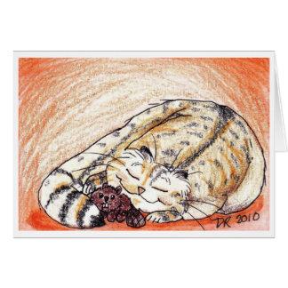Tarjeta Snuggles soñolientos del gatito gordo