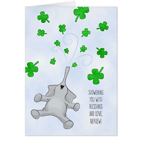 Tarjeta Sobrino, elefante del día de St Patrick y tréboles
