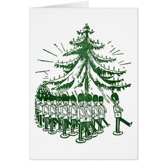 Tarjeta Soldados de juguete marzo alrededor de un árbol